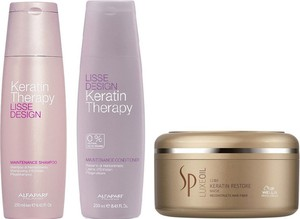 Alfaparf Milano Alfaparf Keratin Therapy Maintenance and SP Luxe Oil Keratin Restore | Zestaw do wygładzenia i regeneracji włosów: szampon + odżywka 250ml + maska 150ml - Wysyłka w 24H!