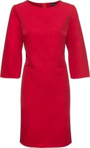 Czerwona sukienka bonprix BODYFLIRT midi z długim rękawem z okrągłym dekoltem