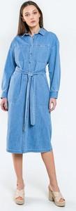 Niebieska sukienka Big Star midi w stylu casual z długim rękawem