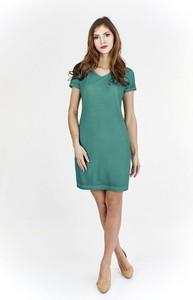Zielona sukienka Fokus z jeansu z dekoltem w kształcie litery v mini