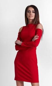 Czerwona sukienka Ivon z długim rękawem