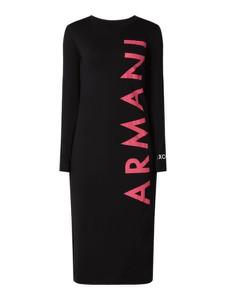 Czarna sukienka Armani Jeans z długim rękawem z bawełny z okrągłym dekoltem