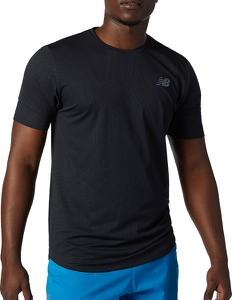 Czarny t-shirt New Balance z dzianiny w sportowym stylu