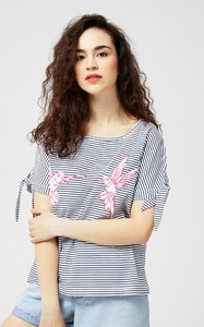 Bluzka Moodo z krótkim rękawem z okrągłym dekoltem z bawełny