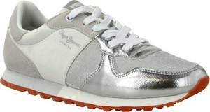 Srebrne buty sportowe Pepe Jeans sznurowane ze skóry