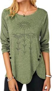 Zielona bluzka Sandbella z długim rękawem z okrągłym dekoltem