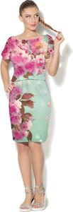 Sukienka sukienki.pl midi z dekoltem w łódkę z krótkim rękawem