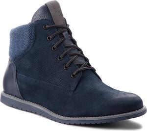 Niebieskie buty zimowe Gino Rossi sznurowane w stylu casual