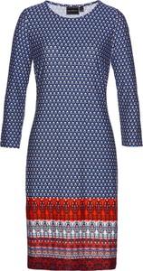 Sukienka bonprix bpc selection z długim rękawem z okrągłym dekoltem midi