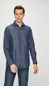 Niebieska koszula Pierre Cardin z klasycznym kołnierzykiem z bawełny z długim rękawem