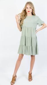 Zielona sukienka Olika mini z krótkim rękawem z okrągłym dekoltem