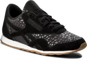Czarne buty sportowe reebok w abstrakcyjne wzory z płaską podeszwą