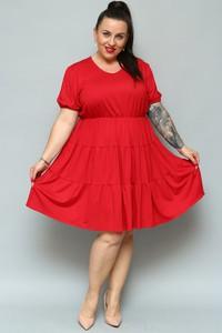 Czerwona sukienka KARKO z krótkim rękawem rozkloszowana z dzianiny