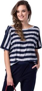 Niebieski t-shirt Look made with love z krótkim rękawem