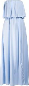 Niebieska sukienka Multu maxi z dekoltem w kształcie litery v bez rękawów