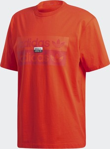Czerwony t-shirt Adidas z krótkim rękawem