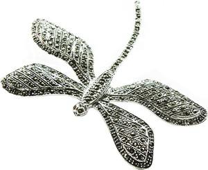 Braccatta FEYA; Srebrna broszka z markazytami
