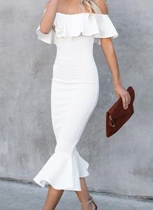Sukienka Sandbella z krótkim rękawem ołówkowa midi