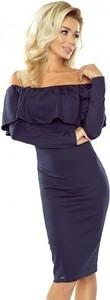 Niebieska sukienka NUMOCO midi hiszpanka z długim rękawem