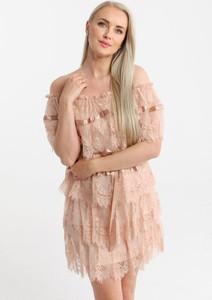 Sukienka Butik Ecru mini w stylu boho