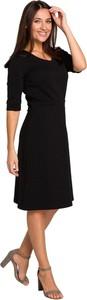 Czarna sukienka Style z dzianiny z krótkim rękawem
