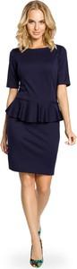 Niebieska sukienka MOE baskinka mini
