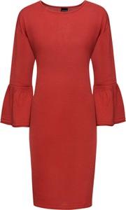 Czerwona sukienka bonprix BODYFLIRT z długim rękawem midi ołówkowa