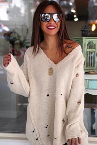 Beżowy sweter damski sweter eleanora ecru z dzianiny