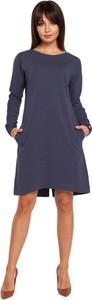 Sukienka BeWear z długim rękawem mini z okrągłym dekoltem