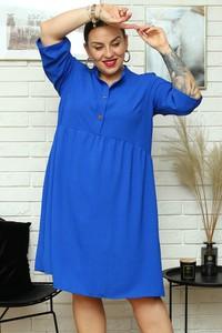 Niebieska sukienka KARKO mini z długim rękawem