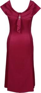 Czerwona sukienka Fokus bez rękawów z okrągłym dekoltem z tkaniny