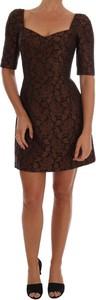 Sukienka Dolce & Gabbana mini z jedwabiu z krótkim rękawem