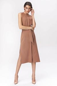 Sukienka Nife szmizjerka midi z okrągłym dekoltem