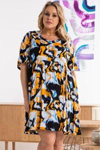 Sukienka KARKO trapezowa mini z dekoltem w kształcie litery v