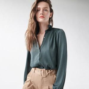 Zielona koszula Sinsay z długim rękawem w stylu casual z kołnierzykiem