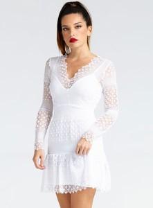 Sukienka Guess z dekoltem w kształcie litery v z długim rękawem mini