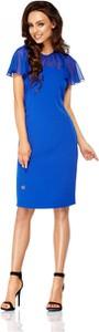 Niebieska sukienka Lemoniade prosta z szyfonu z okrągłym dekoltem