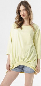 Żółta bluza born2be krótka w młodzieżowym stylu