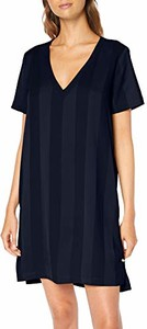 Granatowa sukienka amazon.de mini z dekoltem w kształcie litery v z krótkim rękawem