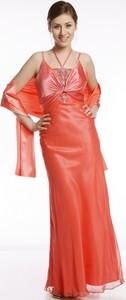 Pomarańczowa sukienka Fokus bez rękawów z okrągłym dekoltem maxi