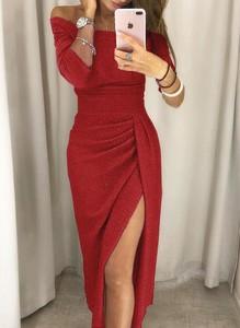 Czerwona sukienka Cikelly z długim rękawem maxi hiszpanka
