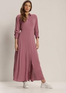 Różowa sukienka Renee z dekoltem w kształcie litery v z długim rękawem