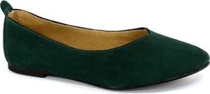 Zielone baleriny Lan-Kars ze skóry