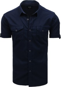 Niebieska koszula Dstreet z bawełny z klasycznym kołnierzykiem