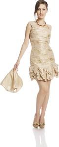 Sukienka Fokus w stylu glamour z okrągłym dekoltem mini