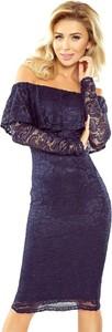 Granatowa sukienka MORIMIA hiszpanka z odkrytymi ramionami