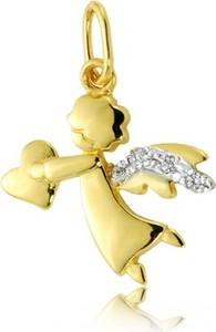 Hosa Złota zawieszka aniołek z cyrkoniami i serduszkiem (łączone złoto) (próba 333)