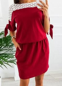 Czerwona sukienka Arilook mini w stylu casual z długim rękawem