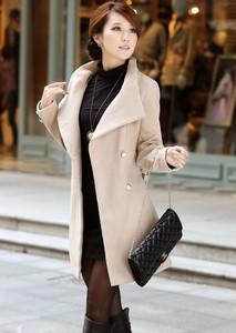 Styl asyk wiosenny beżowy płaszcz z paskiem