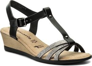 Sandały tamaris w stylu casual na koturnie ze skóry ekologicznej
